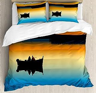 Juego de funda nórdica Fishing 3 PCS, Buddies en Tranquil Still Lake en Epic Sunset Fishing Male Friends Bond Friendship, Juego de cama Colcha para niños / adolescentes / adultos / niños, naranja azul
