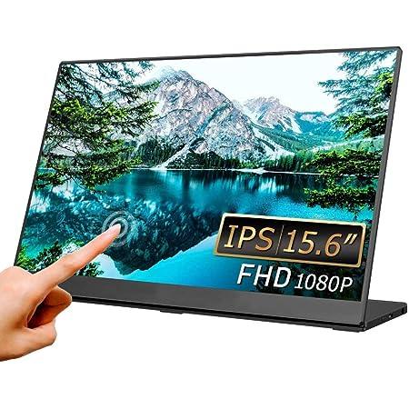 LIVXIA モバイルモニター 2021 モバイルディスプレイ 15.6 インチ タッチパネル FHD 1920x1080 光沢 IPS液晶パネル ゲームモニター 薄型 4.7mm 軽量 880g USB Type-C/Mini HDMI スタンド型 ブルーライトカット PS4/PS5/XBOX/Switch/PC/Mac/Windowsなど対応 2年保証 LX156TSL