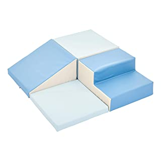 Amazon Basics Soft Play Corner Climber, 4-Piece, Blue, Grey