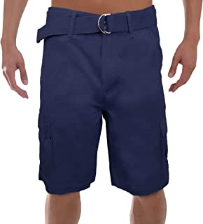 Galaxy by Harvic Men's Relaxed Fit Multi-Pockets Belted Cotton Twill Casual Cargo Shorts