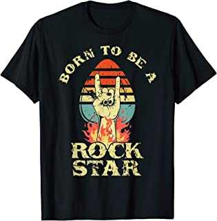 Born To Be Rock Star Heavy Metal Hand Horns Vintage Retro T-Shirt