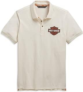 HARLEY-DAVIDSON Men's Logo Knit Polo (Off-White, X-Large)