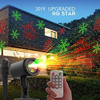 CACAGOO Christmas Projector Lights, 12 Patterns in 1 Laser Light Indoor Outdoor Christmas Laser Light with RF Remote Control for Hassle-Free Holiday Decorating Projector Lights