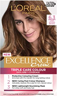 L'Oréal Paris Excellence Creme, 6.3 Light Golden Brown (100% Grey Coverage)