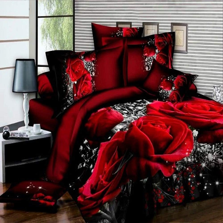 3D 4 Pieces Beautiful Printed Multi Designs Duvet Quilt Cover Complete Bedding Set,A
