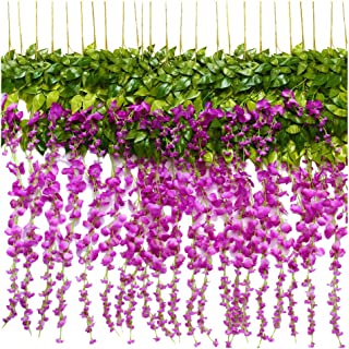 TRvancat Artificial Wisteria Hanging Vine 12 Pack 3.6FT/pcs, Fake Silk Flowers in Natural Chain Garland for Outdoor Wedding Ceremony Arch Party Home Garden Decor (Purple 2)