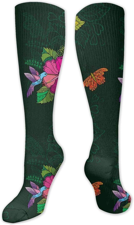Hummingbirds Flowers Butterfy Knee High Socks Leg Warmer Dresses Long Boot Stockings For Womens Cosplay Daily Wear