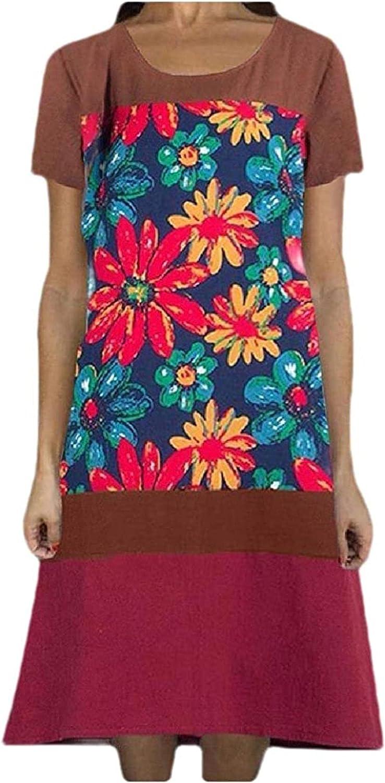 REWORDGT Women Floral Print Summer A Linen Max 40% OFF Short Mid-Long Line S Columbus Mall