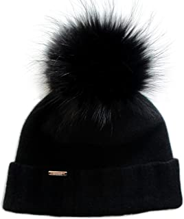 Chic and Classy Cashmere Beanie Hat for Women with Detachable Genuine Fox Fur Pom CSH-804RN