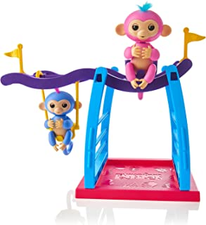 WowWee Fingerlings Playset - Monkey Bar/Swing Playground with 2 Fingerlings Baby Monkey Toys – Liv (Blue) and Simona (Bubb...