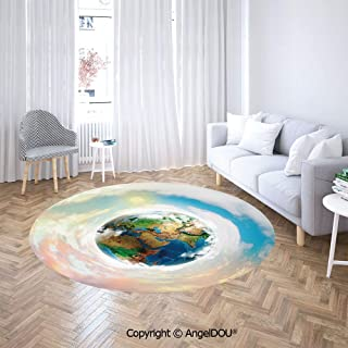 AngelDOU Non-Slip Backing Machine Washable Round Area Rug Colorful Image of Planet Earth Vivid Continents Swirling Clouds Ecology Theme Soft Living Dining Room Area Rug