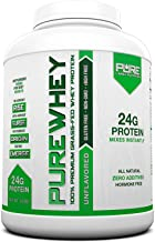 Pure Label Nutrition 100% USA Grass-Fed Whey Protein Concentrate, 5lb Unflavored, Non-GMO, rBGH Free, Soy Free, Gluten Fre...