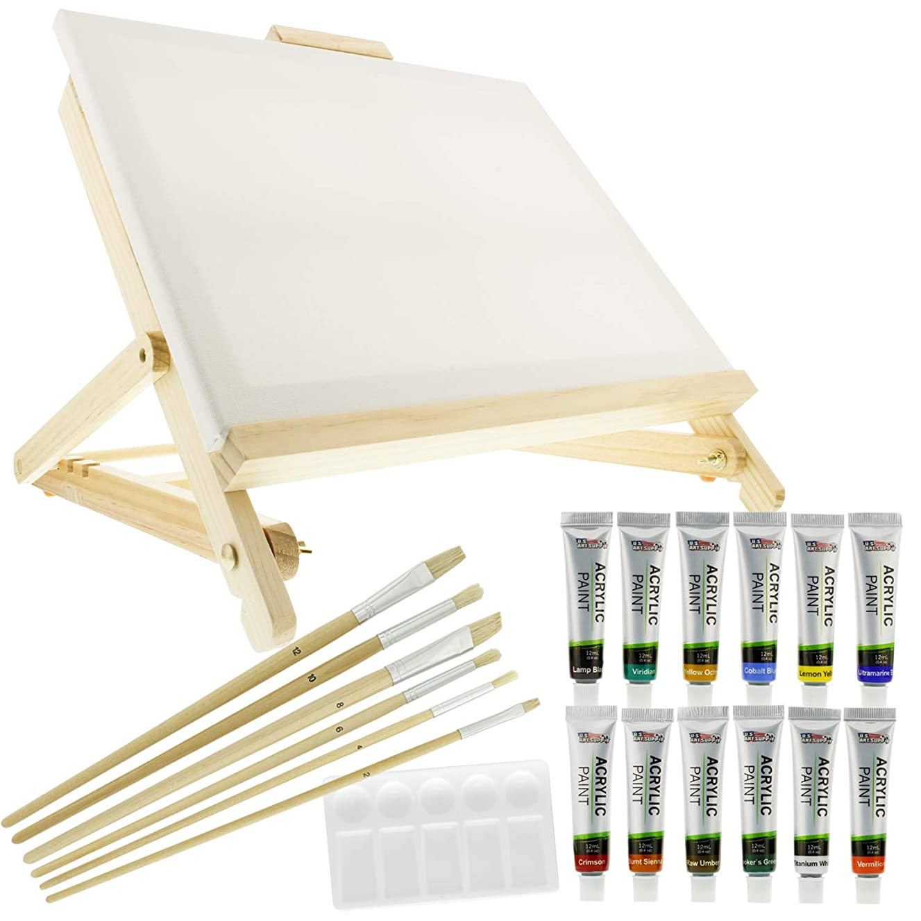 US Art Supply 21-Piece Acrylic Painting Table Easel Set with, 12-Tubes Acrylic Painting Colors, 11