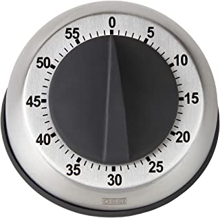 HOME-X Stainless Steel Kitchen Timer, 60-Minute Dial, Modern Home Chef Tools (Gray)