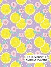 2020 Weekly & Monthly Planner: Citrus Lemon & Roses Purple Background Calendar & Journal