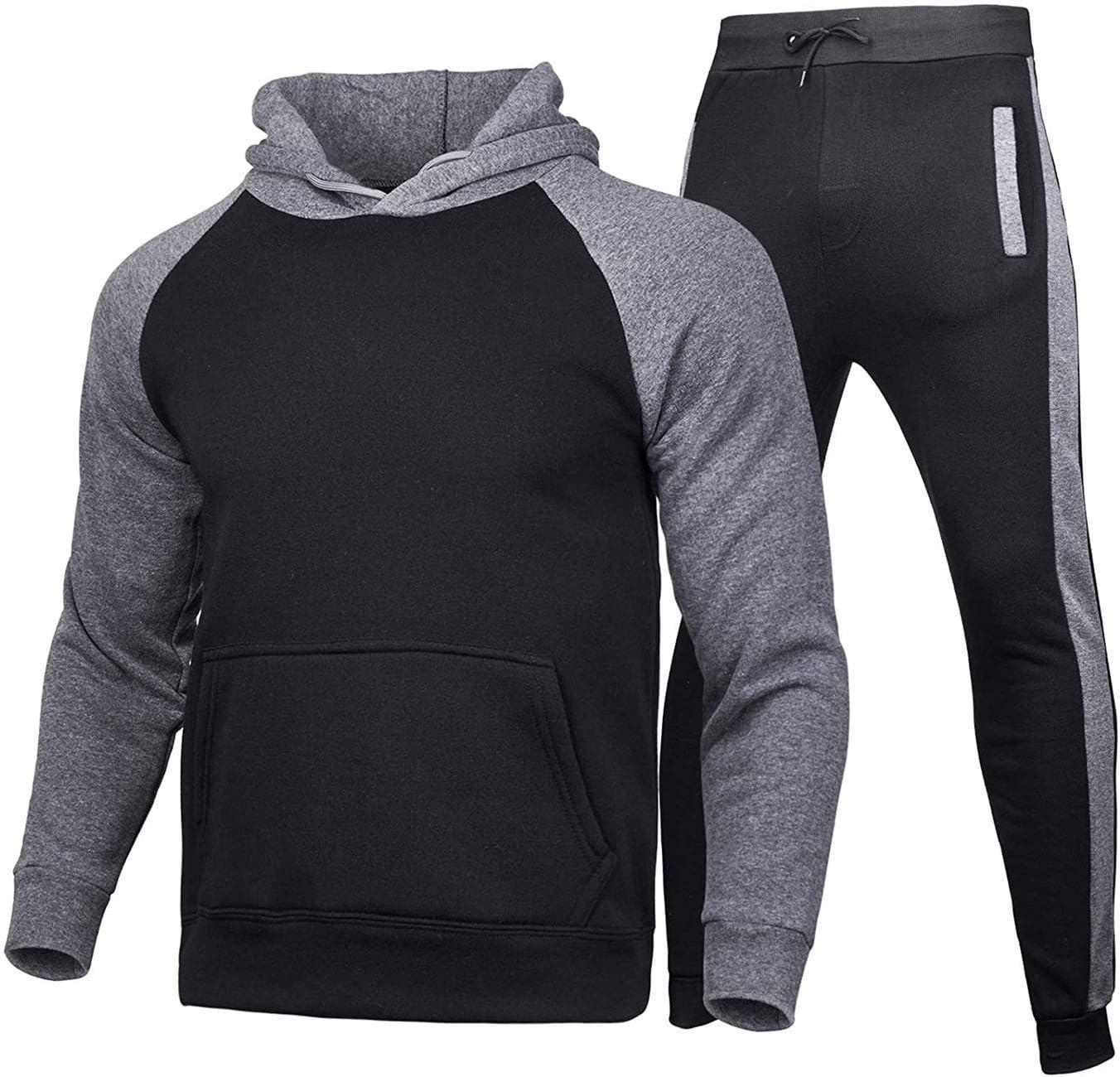 Piasnhaoah4 Ensemble Surv/êtement Homme 2 pi/èces Ensembles Sportswear Hommes Sweat /à Capuche et Pantalon Jogging,Style d/écontract/é Sportif