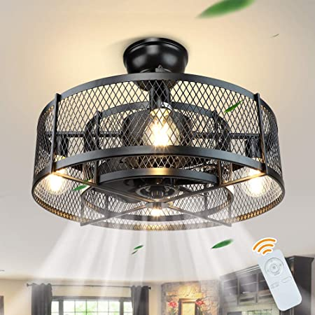 Dllt 20in Caged Ceiling Fan With Light 3 Speeds Adjustable Ceiling Fan Lights With Remote Industrial Ceiling Fans For Living Room Bedroom Kitchen 4xe26 Bulb Base Black No Bulb Amazon Com