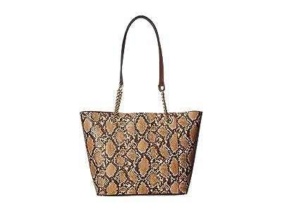Calvin Klein Hayden Python Chainlink Tote (Natural Snake) Tote Handbags