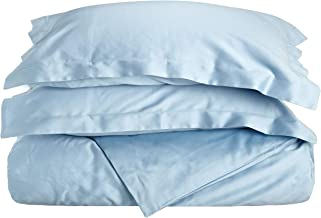 Superior 100% Premium Combed Cotton, Soft Single Ply Sateen, 2-Piece Duvet Cover Set, Solid, Twin - Light Blue