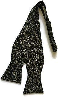 Mens Self-tie Bow Tie Black with Gold Metallic Roses Design