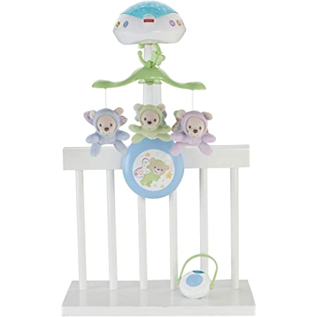 Fisher-Price Sweet Butterfly Dreams 3-in-1 Musical Mobile for Baby Crib, Remote Control, Light, Music and Sounds Projection, From Birth, CDN41