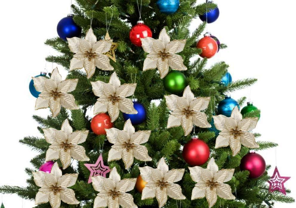 24 Piezas 5.91Flor de Navidad Artificial con Purpurina de Navidad para /Árbol de Navidad Guirnalda Ornamento de la decoraci/ón del Partido luz de Oro Outgeek Flores para Navidad