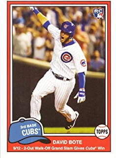 2018 Topps Throwback Thursday (TBT) Baseball #227 David Bote Rookie Card - 2-Out Walk-Off Grand Slam Gives Cubs Win - Only 667 made!