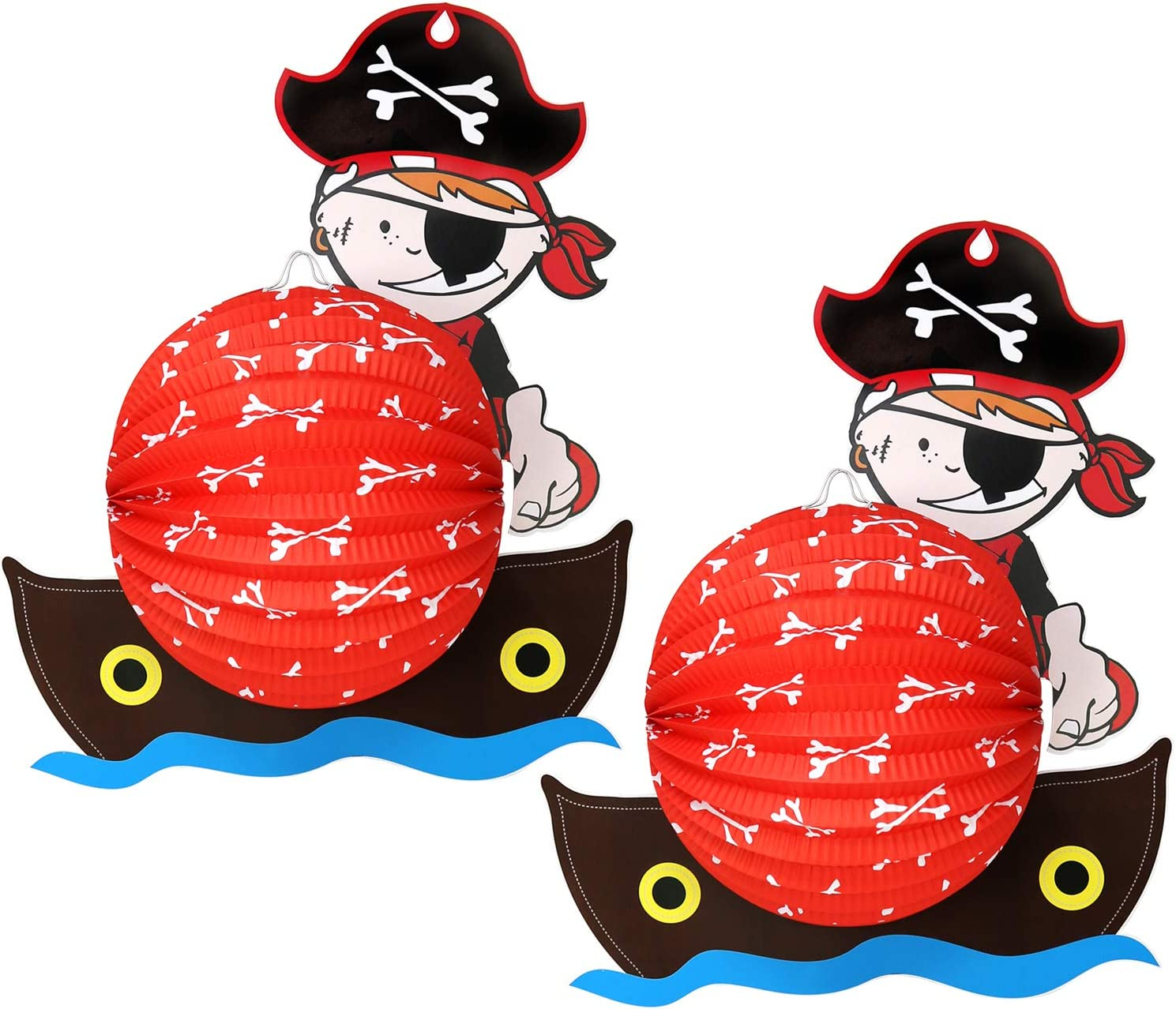 com-four/® 2X Laterne mit Buntem Pirat Motiv Martinslaterne f/ür Kinder Papierlaterne f/ür Sankt Martin und Halloween