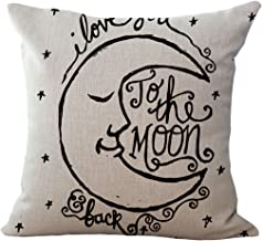 LeavelandI Love You to The Moon and Back Cotton Throw Pillow Case Vintage Cushion Cover (16 x 16, White)
