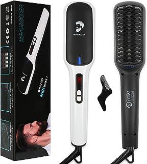 Beard Straightener, MASWATER - Second Generation Beard Straightening Brush with PTC Ceramic Technology, Temperature Digital Instant Reading