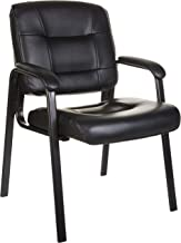 AmazonBasics Classic Leather Office Desk Guest Chair with Metal Frame - Black