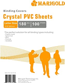 Crystal Clear Binding Covers Presentation Covers - MARIGOLD 100 Pack, 7 mil Letter Size Plastic Covers for Paper, Clear Re...