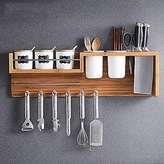 ZHTY Cuisine Multifonctionnelle Porte-Bagages,Montage Mural en Bois Suspendus Rack De Cuisine Rangement Organisateur,Spice...