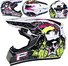 Unisex Motorcycle Helmet Set 4 Piece Set Downhill Dirt Bike Adult ATV Protective Helmet Accessories Face Shield Gloves War Dog,S YOUMI Motocross Helmet Goggles