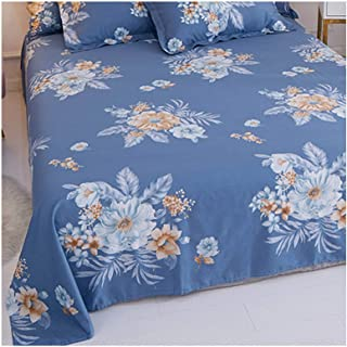 Lunarable Floral Flat Sheet Violet Blue White Twin Size Soft Comfortable Top Sheet Decorative Bedding 1 Piece Circles with Floral Nature Details in Hexagonal Order and Blue Tones Print