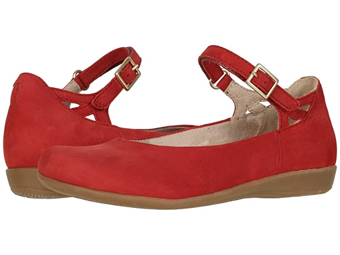 Earth  Alma (Bright Red Soft Buck) Womens Flat Shoes