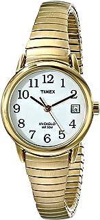 ساعة يد مع قراءة سهلة وعرض التاريخ للنساء من تايمكس One Size Fits All ذهبي