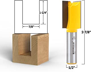 Yonico 14029 7/8-Inch Diameter X 1-1/4-Inch Height Straight Router Bit 1/2-Inch Shank