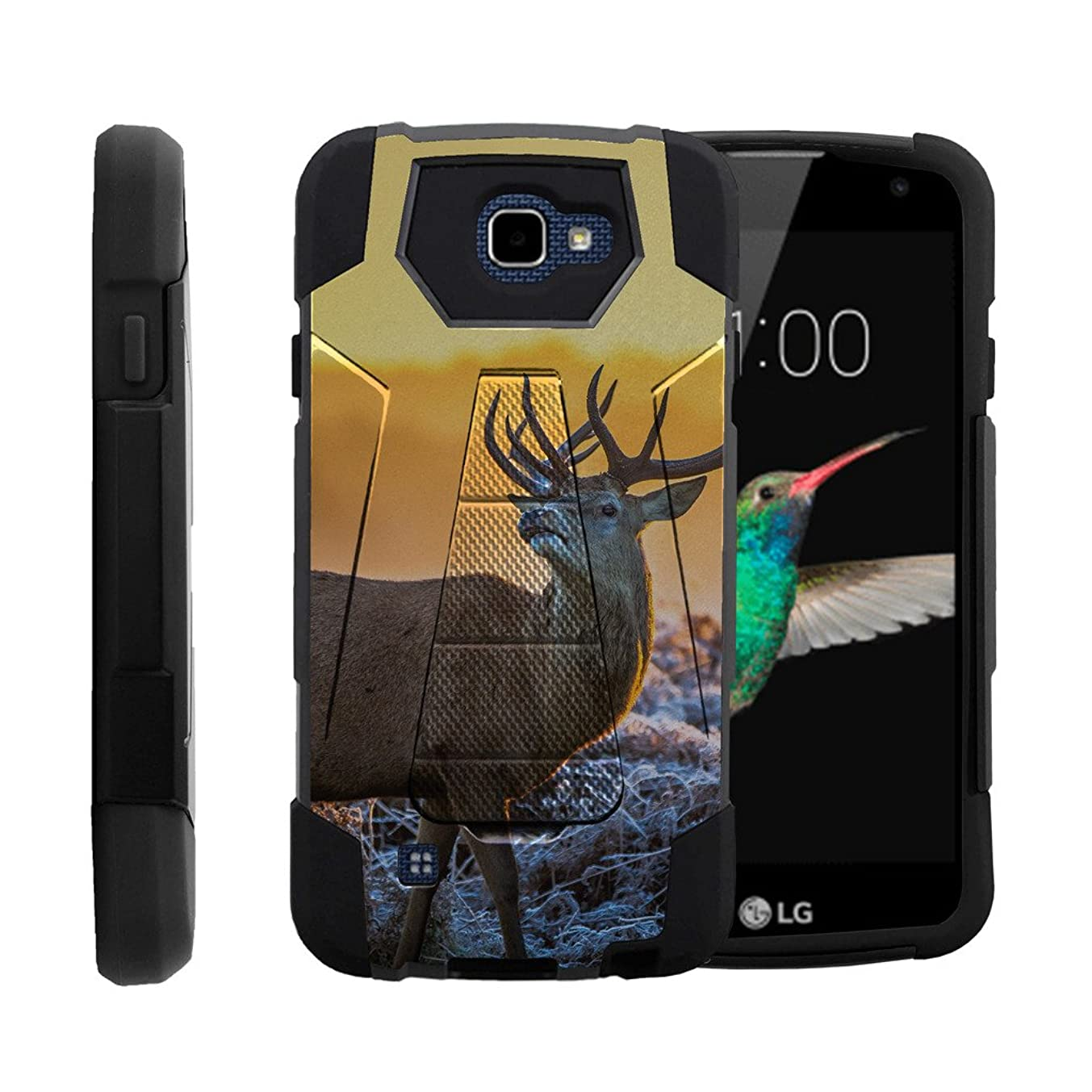 MINITURTLE Case Compatible w/LG K4 |Optimus Zone 3 Case|LG Spree|LG Rebel Case, Heavy Duty Silicone Gel and PC Phone Cover w/Unique Hunting Gear Design, Winter Deer