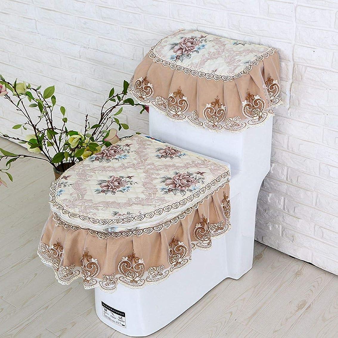 指令見える不良品CAFUTY コットン トイレットマット 布製トイレセット 両面 農村スタイル (Color : ブラウン)