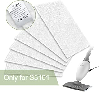 LIGHT 'N' EASY Original 6 Pack Cleaning LIGHT'N'Easy S3101 Steam Cleaner Microfiber Washable Floor Mop Replacement Pads(Not for LIGHT'N'EA, White