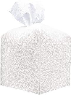 Carrotez Tissue Box Cover, [Refined] Modern PU Leather Square Tissue Box Holder - Decorative Holder/Organizer for Bathroom...