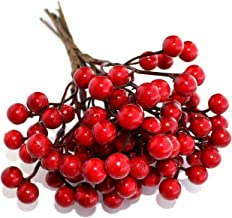 OLYPHAN Artificial Berries Red Pip Berry Stems Spray for DIY Crafts – Wreath, Garland, Christmas Ornaments Decoration - De...