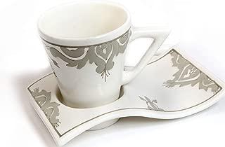 Kamsah 2 Piece Wave Mug & Coaster Plate Set, Custom Hand-Painted Mug Handmade Coffee/Tea/Juice/Water Wave Mug+ coaster plate (Original Grey) for breakfast, lunch, brunch