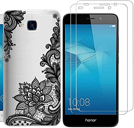 Huawei Honor 5C Case with 2 pack glass screen protector Phone Case for Men Women Girls ZDear Soft TPU with Protective Bumper Cover Case for Huawei Honor 5C-Black Flowers
