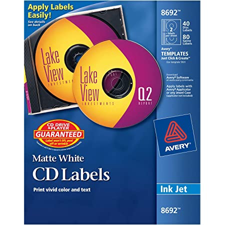 Avery CD Labels, Matte White, 40 Disc Labels and 80 Spine Labels (8692),4.5/8 Inches