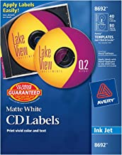 Avery CD Labels, Matte White, 40 Disc Labels and 80 Spine Labels (8692)
