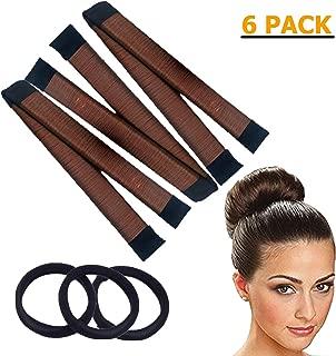 Hair Bun Maker - 6 Pack - 3 Brown French Twist Fold Wrap Snap and 3 Black Elastic Hair Bands - Easy Perfect Magic Bun for Women, Girls, Blonde - DIY Hair Bun Making Styling For Ballet, Wedding