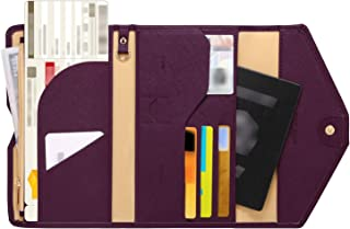 Zoppen Mulit-Purpose RFID Blocking Travel Passport Wallet (Ver.4) Tri-fold Document Organizer Holder, Wine Red/Burgundy