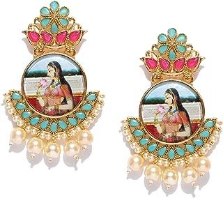 Zaveri Pearls Padmavati Dangler Earrings for Women (Golden) (B07CSRFH3H)